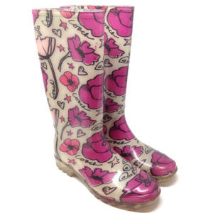 Coach Poppy Rubber Pink Floral Rain Boots Size 8